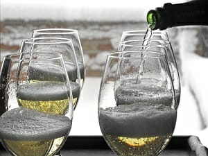 Wine being poured in the snow